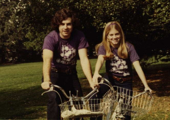 This is me and my girlfriend, Carla, in Berkeley, circa 1970, with my first 10 speed. The bike weighed more than her. Because of the wind resistance caused by my hair, and the weight of the bike, top speed was about 8 mph.